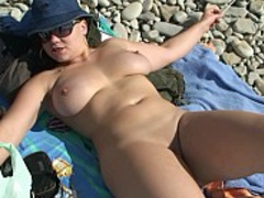 Busty babe gets fucked hard from behind under the hot sun