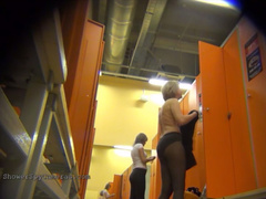 Spy at naked girls in a public changing room