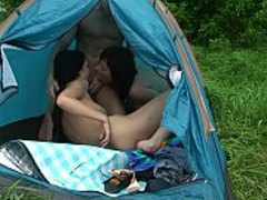 Crazy swinger threesome at the nude beach
