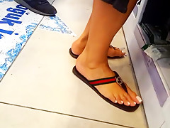 Film her perfect long feet sexy pedicured toes