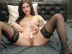 Svetlana starts with corset then masturbates until orgasm