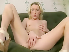 Sexy blonde masturbates before blowjob