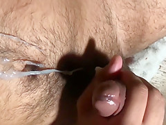 Close up slow motion steaming cum