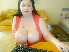 chubby milf with huge sweaty breasts