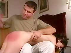 18-year-old cutie Danielle masturbates after she is spanked