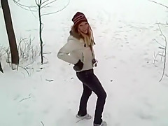 Blonde in low rise jeans going down hill