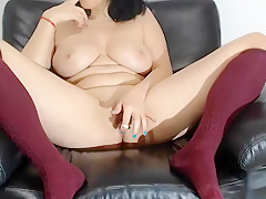 Solo Brunette Toying Her Tight Hole And Loves It
