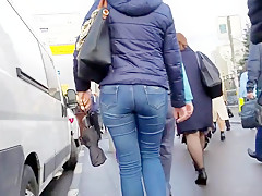 junior woman tight ass on a cloudy day