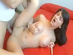 Busty Brunette Babe Gets Her Horny Wet