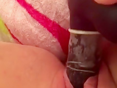 Gentle mastebating with huge dildo