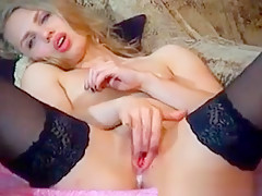 Russian Blonde Babe Masturbating
