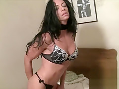 Fit Muscular Brunette Can't Keep Her Hands Off Herself
