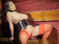 Bigtitted Prodomme Dildoing Her Tight Pussy