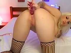 Busty Tattooed Blonde Slut Gets Wet