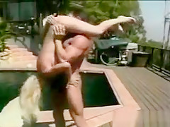 Sexy Blonde Gets Banged Around Outside