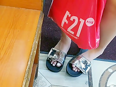 Candid cute redbone feet at the deli