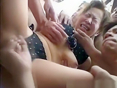Helpless Girl In Public Blowgang!