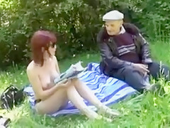 Old Man Fucking junior Slut In A Meadow