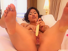 Girl Masturbates Using Two Hard Dildos