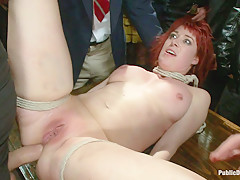 Redheaded Slut Ass Fucked At Crowded Party - PublicDisgrace