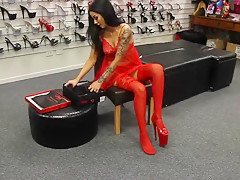 Girl in extremly hot red dress and high heels