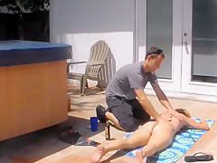 Spy cam caught cheating wife fucks in backyard