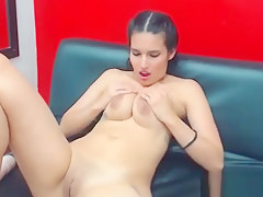 Brunette With Choker Liking Dildo While Rubb