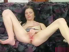 Dark Haired Babe Stretches Cunt And Ass With Toys