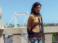 Slim babe tormented and banged outdoor