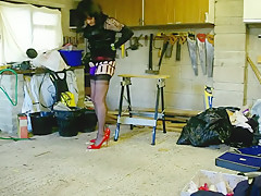 DENISE IN BLACK FF NYLONS AND RED HEELS
