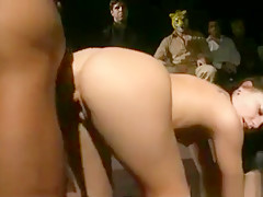 Horny Girl Railed While The Others In Mask Watching Them