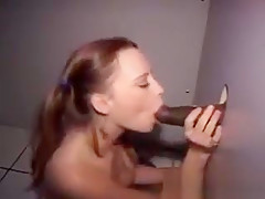 Pig Tailed Blonde Sweetheart Sucks Dick At Glory Hole