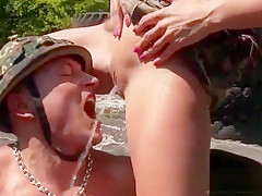 Surprised Looker In Lingerie Is Geeting Pissed On And Nailed