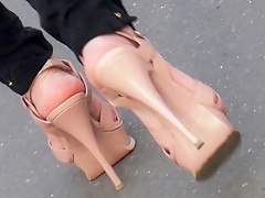 Candid sexy feet crossed legs with ysl high heels