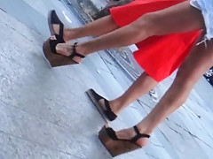 Candid extrem wedges heels and hot legs