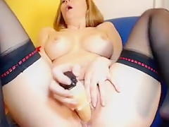Busty Blonde  Playing With Dildo