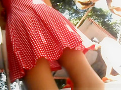 Teen in short red dress and sexy legs