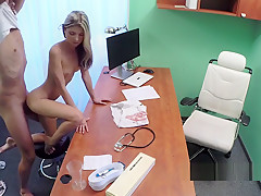 Doctor In Gloves Fingers Sexy Blonde Patient