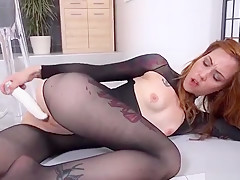 Beautiful Cutie Is Pissing And Rubbing Shaved Kitty