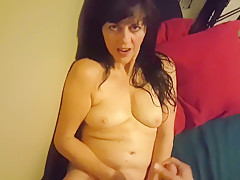 Beautiful mature milf makes eye contact. Enjoys cum on her face and tongue!