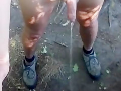 Naked outdoor walk on a hot day with jiggly cock out and piss at the end