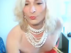 KittyTranny funny and sexy in red lingerie
