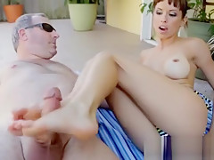 allysa kayson poolside footjob barefoot worship eating food from feet