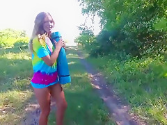 Stefani fitness in forest