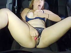 Young Girl Plays with her Pussy in Car