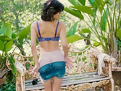 Sexy Fit 5'2 Latina Strips Outdoor In Her Backyard