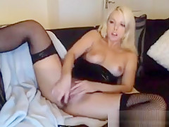 Horny Blonde Beauty Masturbates