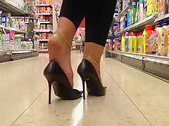 Walking with stilettos full of cum