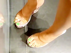 Candid feet wedges shopping