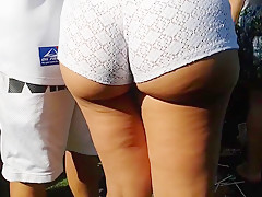 Candid Juicyy thick Latina in white shorts!!